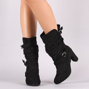 Ruched Mid Calf Boot